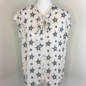 Zara Tops - Zara Shirt Sleeve Stars Pussy Bow Blouse